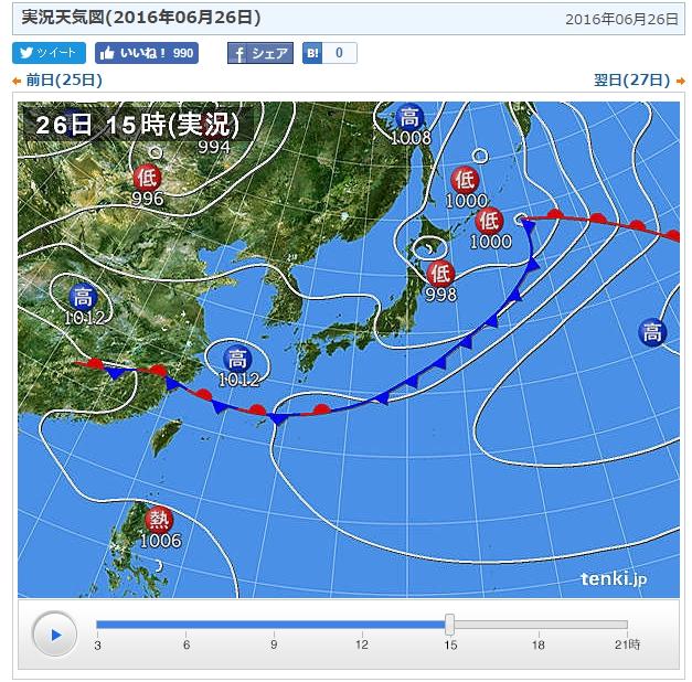 日本気象協会 実況天気図